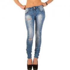 Skinny dames jeans met scheuren blauw