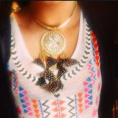 Catching the nations dream with a Dream Catcher necklace from Topshop.