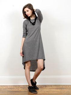 My Line Long Sleeve Dress - Charcoal