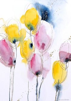 Watercolor Projects, Watercolor Artwork, Watercolor Flowers, Abstract Flower Art, Art Floral, Art Prints, Watercolors, Project Ideas, Pencil