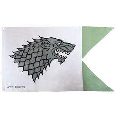 Drapeau Game of Thrones Stark 120x70cm 2 Pointes Vertes