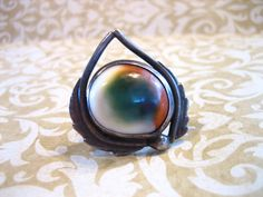 Vintage Sterling Silver Operculum Cats Eye Rare by charmingellie