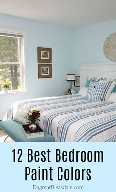 Need ideas for the most beautiful bedroom paint color? I've put together 12 stunning bedroom colors. Light blue and light gray tones are always popular, but there are many other pretty options. #bedroom #color #ideas #farmhouse #cottage #greige #copper #homedecor #homedecorideas #wallcolors