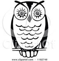 Royalty Free Clipart Illustration Of A Black And White Perched Owl This Cartoon Styled Clip Art Picture Is Available As Fine Print