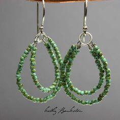 Turquoise Seed Bead Earrings, Seed Bead Earrings, Beaded Earrings, Turquoise Earrings, Dangle Earrings, Beadwork Earrings
