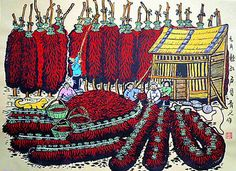 Pepper harvest, China Huxian peasant paintings, hotel and home furnishing decoration painting.