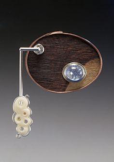 KRISTIN MITSU SHIGA-USA - Follicle Brooch (Copper, Sterling, quartz, palm nut, cocobolo)