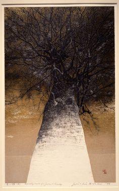 "iamjapanese: ""Joichi Hoshi(星襄一 HOSHI Jōichi Japanese, 1913-1979) High Treetops 高い梢 1976 Colour woodblock print with gold leaf """