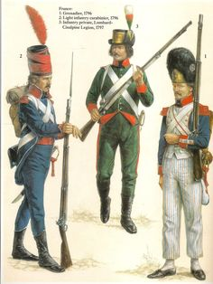 Italian Campaign 1796-97. L to R Carabiner Light Infantry '96, Private Infantry of the Lombard Cisalpine Legion '97 & Grenadier Line Infantry '96.