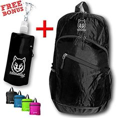 ParaWolf Travel Backpack  LIGHT  FOLDABLE  PACKABLE  DAYPACK with Waterproof Fabric and Zipper Pockets Black Daypack with The Best Bonus of a Black Water Bottle >>> You can get additional details at the image link.Note:It is affiliate link to Amazon.