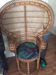 1960u0027s Rattan Peacock Wicker Chair Vintage Boho Pillow