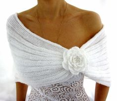 White knit shawl with rosette