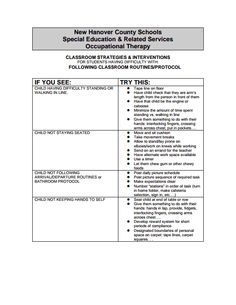 School Based Occupational Therapy Checklist  Occupational Therapy