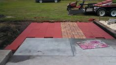 Partly finished pavers section