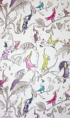 Sir Quentin Blake, Britse illustrator. In Nederland vooral bekend van zijn samenwerking met Roald Dahl. Maar hij maakt meer, waaronder dit behang. Om vrolijk van te worden!