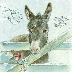 Bird and donkey illustration Christmas Scenes, Christmas Pictures, Christmas Art, Illustration Noel, Christmas Illustration, Illustrations, Christmas Donkey, Christmas Animals, Animal Paintings