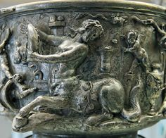 Berthouville_Centaur_skyphos. Revelling centauress and Erotes amidst tables and vases, detail from one of the Berthouville Centaur cups. From the Berthouville treasure, 1830.
