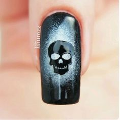 """These Skull Nail Decals will make your manicure """"Bad to the Bone""""! Available in black and white. 30 Skull Nail Decals in all. Video Created and Provided by SprinkleNails Love Nails, How To Do Nails, Pretty Nails, Fun Nails, Skull Nails, Gothic Nails, Halloween Nail Art, Cute Nail Designs, Creative Nails"""