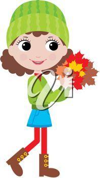 brunette girl Clip Art | iCLIPART - Clip Art Illustration of a Little girl holding fall leaves