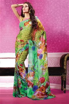 Green, Yellow Georgette Digital Printed Saree