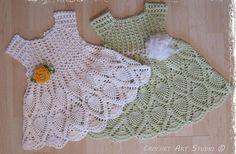 1pc Crochet lace baby girl Pineapple dress  Hand Crochet. Christening Baptism Gift.