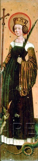 Hl. Margareta  Kunstwerk: Temperamalerei-Holz ; Tafelbild ; Kärnten  Dokumentation: 1495 ; 1505 ; Klagenfurt ; Österreich ; Kärnten ; Diözesanmuseum