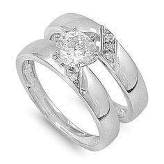 Sabella's 1CT Brilliant Cut Solitaire Cubic Zirconia Wedding Ring Set