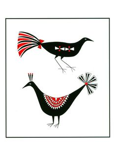 8 x 10 Art Illustration Print Two Black And Red by caitlihne, $12.00