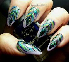 Uñas tipo pavo real - Animal print nails