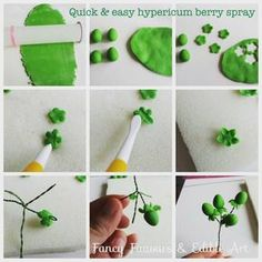 Hello :) I finally got round to compiling this pictorial from photos I took while making Tahira's wedding cake last August! It's a quick way to make a little spray of berries you can dust & use as fillers. You can see more photos of the. Fondant Tree, Fondant Flowers, Cake Flowers, Sugar Paste Flowers, Cake Templates, Easter Flowers, Pastry Art, Fondant Tutorial, Polymer Clay Flowers
