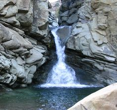 Face in the rock, Waterfall at Santa Paula Creek,Los Padres National Forest