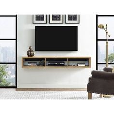 Martin Home Furnishings 60 Shallow Wall Mounted TV Component Shelf Finish Burka Bark is part of Wall mount tv stand - wood Lamp Shade Interior Design Martin Home Furnishings 60 Shallow Wall Mounted TV Component Shelf Finish Burka Bark Living Room Tv, Living Room Furniture, Tv On Wall Ideas Living Room, Tv On The Wall Ideas, Mounted Tv Decor, Wall Mount Tv Stand, Wall Mount Tv Cabinet, Shallow Wall Cabinet, Diy Tv Wall Mount