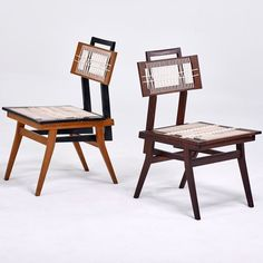 Anonymous; Stained and Enameled Walnut and Cord Chairs, 1950s.