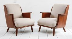 Mid-Century Teak and Linen Arm Chairs | From a unique collection of antique and modern armchairs at http://www.1stdibs.com/furniture/seating/armchairs/