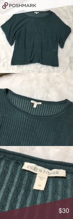 Eileen Fisher Sea Green Flowy Tencel Knit Blouse Eileen Fisher size medium tencel Knit Blouse Top in excellent gently used condition. No damage flaws or pilling and perfect for all occasions! Length 23in Eileen Fisher Tops Blouses