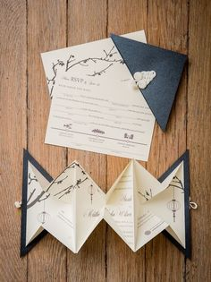 Origami is very popular for decorating weddings, and it's not accidental. Any kinds of geometry are super popular for wedding decor. This roundup is all about ideas to use origami on your big day in a fun and whimsical way. Origami Wedding Invitations, Beautiful Wedding Invitations, Diy Invitations, Wedding Invitation Cards, Wedding Stationery, Wedding Cards, Invitation Ideas, Wedding Gifts, Creative Wedding Invitations