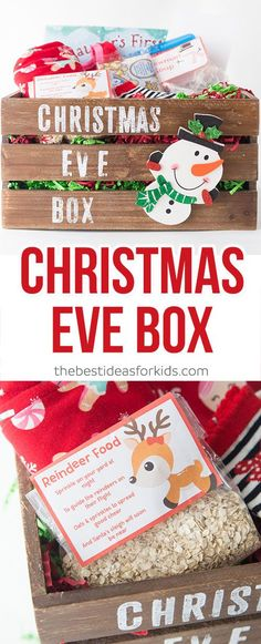This Christmas Eve Box includes reindeer food, snowman soup, A letter from Santa, PJ's, a movie and more! What a fun tradition for kids!