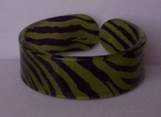 Green Black Animal Print Cuff Bangle Bracelet