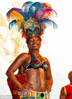 Party time: One of the revellers during the famous carnival season in Puerto Plata, North Coast of the Dominican Republic - Cabarete!