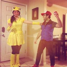 Ash and Pikachu from Pokémon. | 50 Couple Costume Ideas To Steal This Halloween