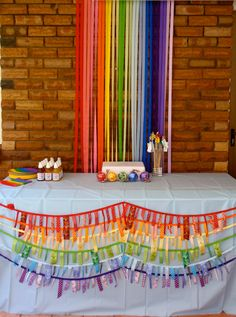 Rainbow of Ribbons Birthday Party Ideas rainbow ribbon table decor Rainbow Ribbon, Rainbow Art, Rainbow Wedding, Rainbow Birthday, Stall Decorations, Yw In Excellence, Banners, Ribbon Garland, Diy Backdrop
