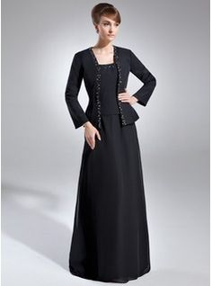 A-Line/Princess Square Neckline Floor-Length Chiffon Mother of the Bride Dress With Beading Sequins (008006144) - JJsHouse