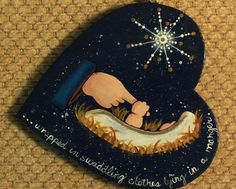 Hand Painted Tole Wood Nativity Heart Christmas Ornament