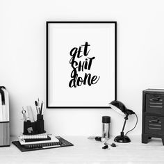 "Inspirational Poster Motivational Print ""Get Shit Done"" Typographic Art Home Decor"