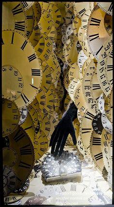 Bergdorf window display. Clocks!