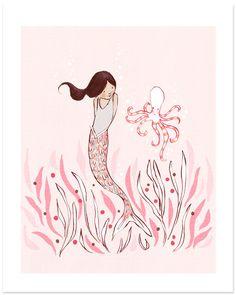Children's Wall Art Print The Mermaid & The door sarahjanestudios, $26.00