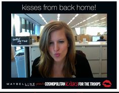 #KissesForTheTroops from Cosmopolitan.com site director Korin! Send your own virtual postcard at cosmopolitan.com/kisses