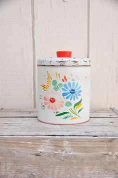 Kitschy Ransburg Metal Tin with Flower by ZebrasAndBubblegum, $16.50