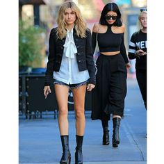 kylie jenner and hailey baldwin out and about in New York City