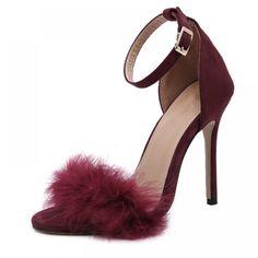 Fur Heels, High Heels Stilettos, Stiletto Heels, Womens Summer Shoes, Womens High Heels, Dress Sandals, Women's Shoes Sandals, Heeled Sandals, Women Sandals